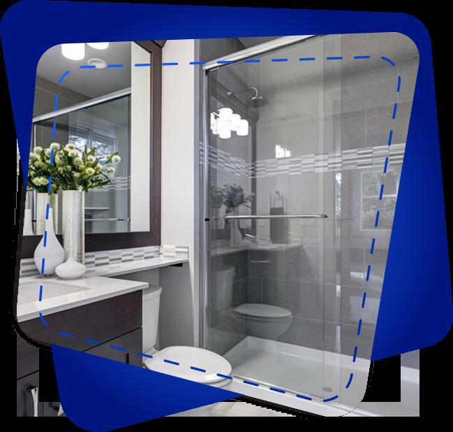 A limescale-and-watermark free shower screen & shiny showerhead